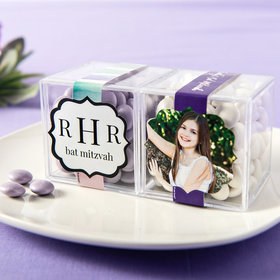 Personalized Bat Mitzvah JUST CANDY® favor cube with Just Candy Milk Chocolate Minis