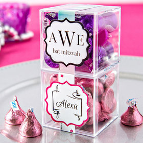 Personalized Bat Mitzvah JUST CANDY® favor cube with Hershey's Kisses