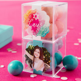 Personalized Bat Mitzvah JUST CANDY® favor cube with Premium Malted Milk Balls