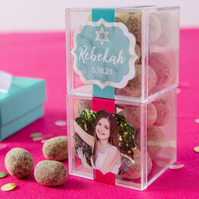 Personalized Bat Mitzvah JUST CANDY® favor cube with Premium Marshmallow S'mores - Milk Chocolate