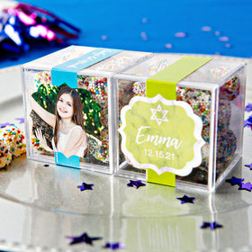 Personalized Bat Mitzvah JUST CANDY® favor cube with Rainbow Berries