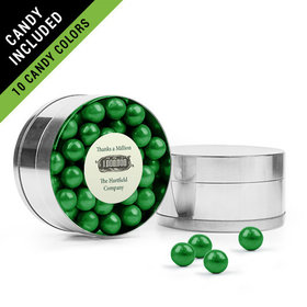 Personalized Thank You Favor Assembled Small Round Plastic Tin Filled with Sixlets