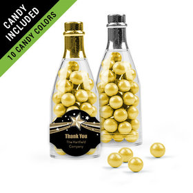Personalized Thank You Favor Assembled Champagne Bottle Filled with Sixlets