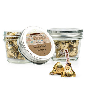 Personalized Thank You Favor Assembled Small Mason Jar Filled with Hershey's Kisses