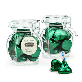 Personalized Thank You Favor Assembled Swing Top Jar Filled with Hershey's Kisses