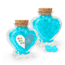 Personalized Thank You Favor Assembled Heart Jar Filled with Just Candy Jelly Beans