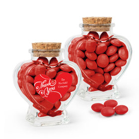 Personalized Thank You Favor Assembled Heart Jar Filled with Just Candy Milk Chocolate Minis