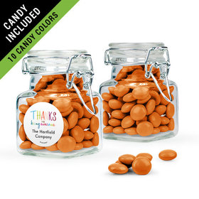Personalized Thank You Favor Assembled Swing Top Square Jar Filled with Just Candy Milk Chocolate Minis