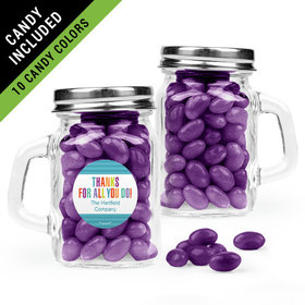 Personalized Thank You Favor Assembled Mini Mason Mug Filled with Just Candy Jelly Beans