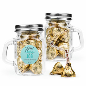 Personalized Thank You Favor Assembled Mini Mason Mug Filled with Hershey's Kisses