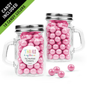 Personalized Thank You Favor Assembled Mini Mason Mug Filled with Sixlets
