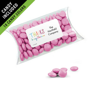 Personalized Thank You Favor Assembled Pillow Box Filled with Just Candy Milk Chocolate Minis