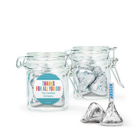 Personalized Thank You Favor Assembled Swing Top Round Jar Filled with Hershey's Kisses