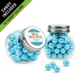 Personalized Thank You Favor Assembled Mini Side Jar Filled with Sixlets