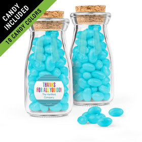 Personalized Thank You Favor Assembled Glass Bottle with Cork Top Filled with Just Candy Jelly Beans