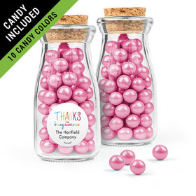 Personalized Thank You Favor Assembled Glass Bottle with Cork Top Filled with Sixlets