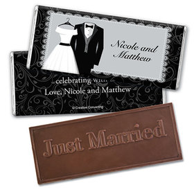 Personalized Wedding Couple Embossed Just Married Chocolate Bar