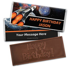 Personalized Birthday Space Blast Embossed Happy Birthday Chocolate Bar