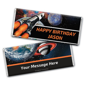 Personalized Birthday Space Blast Chocolate Bar & Wrapper