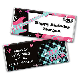 Personalized Birthday Rock Star Girl Chocolate Bar & Wrapper
