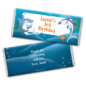 Personalized Birthday Shark Chocolate Bar & Wrapper