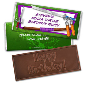 Personalized Birthday Ninja Power Embossed Happy Birthday Chocolate Bar