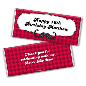 Personalized Birthday Mustache Madness Chocolate Bar Wrappers