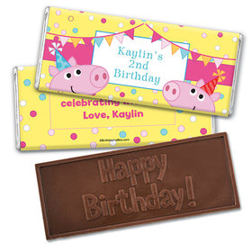 Personalized Birthday Pigs & Dots Embossed Happy Birthday Chocolate Bar
