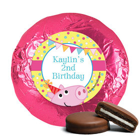 Personalized Birthday Pigs & Dots Milk Chocolate Covered Oreos (24 Pack)
