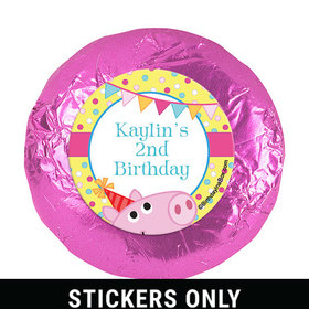 "Personalized Birthday Pigs & Dots 1.25"" Stickers (48 Stickers)"