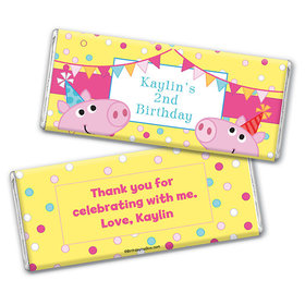 Personalized Birthday Pigs & Dots Chocolate Bar & Wrapper