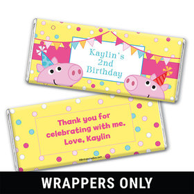 Personalized Birthday Pigs & Dots Chocolate Bar Wrappers