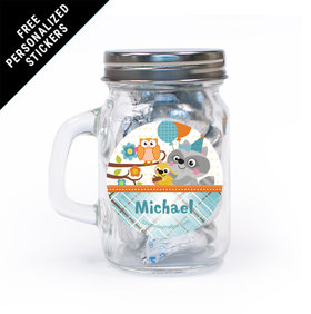 Woodland Baby Personalized Mini Mason Jar 12 Pack