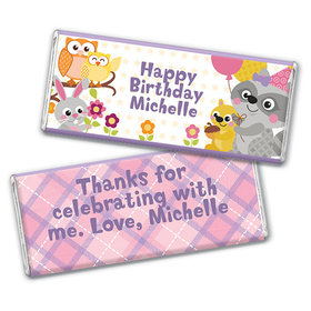 Personalized Birthday Woodland Girl Chocolate Bar Wrappers