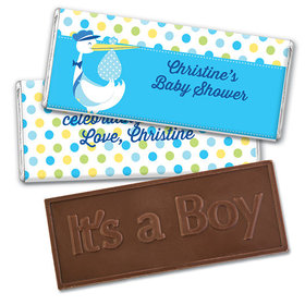 Personalized Baby Shower Blue Stork Embossed Chocolate Bar & Wrapper
