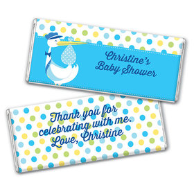 Personalized Baby Shower Blue Stork Chocolate Bar & Wrapper