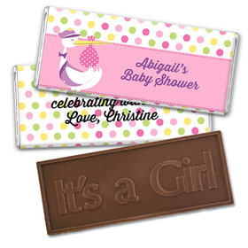 Personalized Baby Shower Pink Stork Embossed Happy Birthday Chocolate Bar