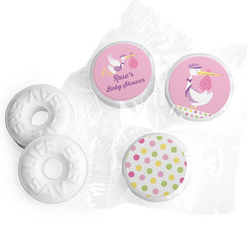 Personalized Baby Shower Pink Stork Life Savers Mints