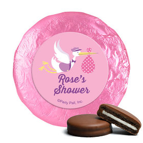 Personalized Baby Shower Pink Stork Milk Chocolate Covered Oreos