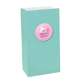 Pastel Baby Shower Personalized Paper Favor Bags (set of 12)