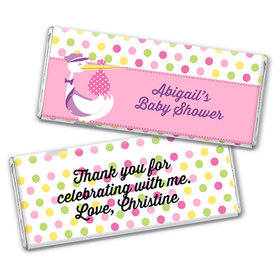 Personalized Baby Shower Pink Stork Chocolate Bar & Wrapper