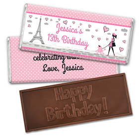 Personalized Birthday Poodle Embossed Happy Birthday Chocolate Bar