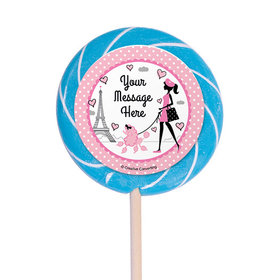 "Paris Party Personalized 3"" Lollipops (12 Pack)"