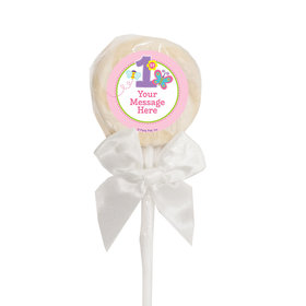 Birthday Personalized White Lollipop Butterfly 1st Birthday (24 Pack)