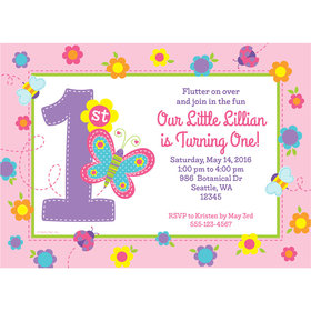 Sweet First Birthday Girl Personalized Invitation