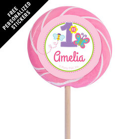 "Birthday Personalized 3"" Light Pink Swirly Pop Butterfly 1st Birthday (12 Pack)"