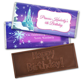Personalized Birthday Ice Princess Embossed Happy Birthday Chocolate Bar