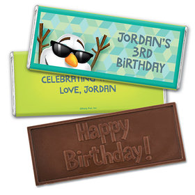 Personalized Birthday Snowman Embossed Happy Birthday Chocolate Bar