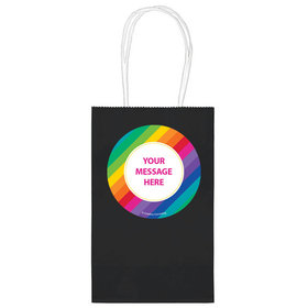 """Rainbow Birthday Personalized 5"""" Handle Bags (24 pack)"""