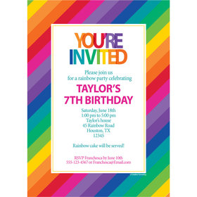 Rainbow Birthday Personalized Invitation
